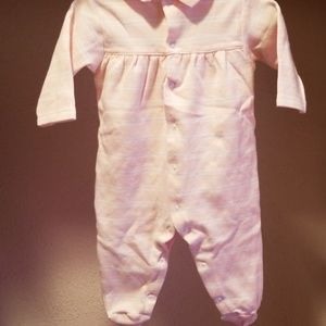Ralph Lauren One Pieces - RL Soft Powder Pink and White Striped Footie